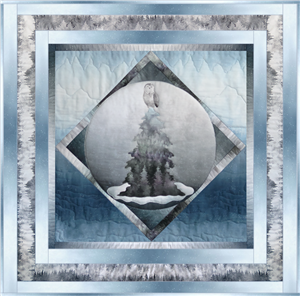 a single block quilt with an arctic snowy scene, with an owl in a tree