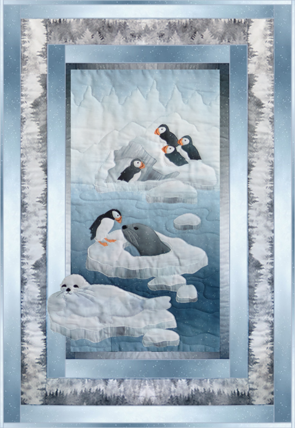 a single block quilt with an arctic snowy scene, ice floes with seals hanging and puffins