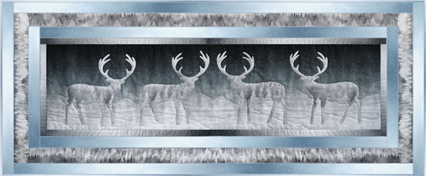a single block quilt with an arctic snowy scene with caribou against a dark sky