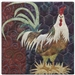 a fabric panel with a rooster standing on a bunch of hay