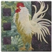 a rooster standing tall, with long white, curly tail feathers on a green and purple pieced background