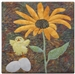 a fabric panel with a little yellow chick standing under a yellow daisy. The chick is dancing on top of two eggs!