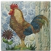 a fabric panel showing the profile of a reddish brown rooster standing on the grass next to a small flower.