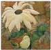 A fabric panel with a baby chick sleeping against the stem of a pale yellow daisy