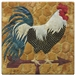 A fabric panel with a black and white speckled rooster standing on a weather vane