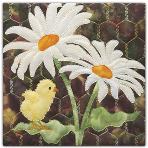 a fabric panel with a small yellow chick standing on a leaf under two large white daisies