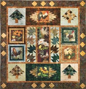 the pattern to make the full pieced quilt, joining all nine All Cooped Up panels together