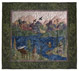 Quilt block of a man fishing in a river in the mountains, watched by an elk, with geese flying overhead.