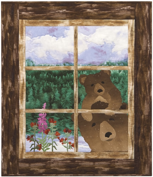 Quilt block of Mama and Brother Bear looking through your cabin window to see if you are home.