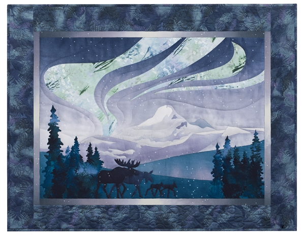 Quilt block of elk herd walking through a meadow at night, with the aurora borealis above them.