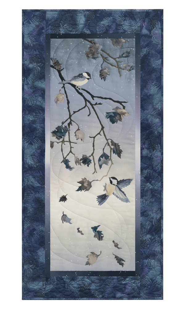 Quilt block of chickadees on an oak tree branch, with wind swirling the falling leaves.