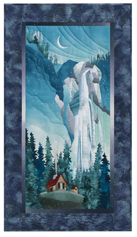 Quilt block of a cabin in a clearing beside an enormous waterfall, with a crescent moon over the cliff