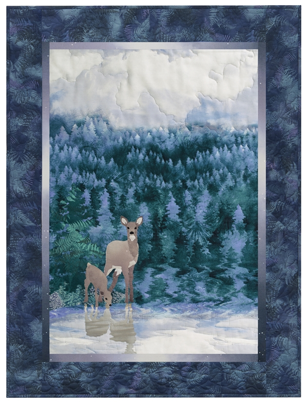 Quilt block of a doe and a fawn drinking water from a lake at dawn
