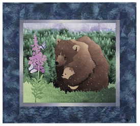Quilt block of a mama bear and her cub watching butterflies drink from a Fireweed bloom.