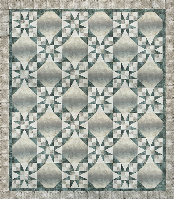 Pieced quilt pattern using McKenna Ryan's Vintage Farmhouse fabric line in a vintage 54-40 or Fight design