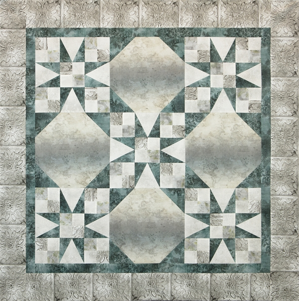 Pieced quilt pattern kit for wall hanging using McKenna Ryan's Vintage Farmhouse fabric line in a vintage 54-40 or Fight design