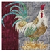 Quilt block of a proud rooster standing in hay