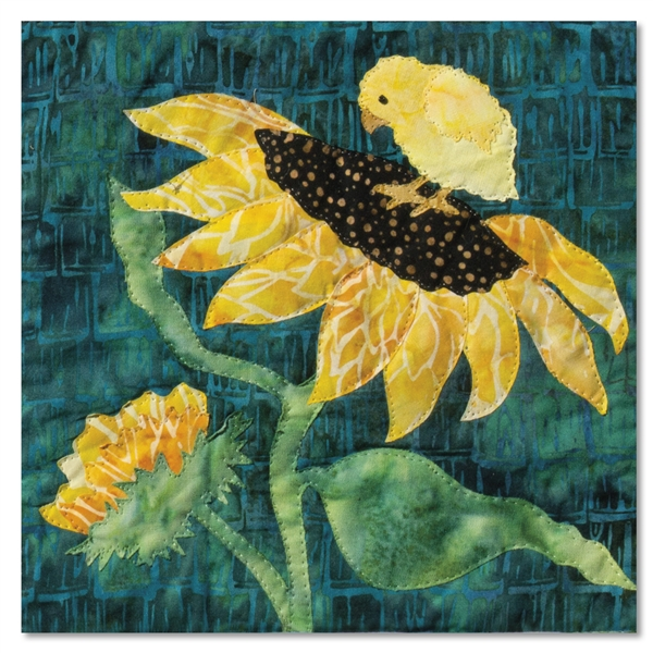 Quilt block of a baby chick standing on a sunflower