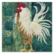 Quilt block of rooster strutting his stuff