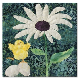 Quilt block of the first chick in a nest hatching and greeting the world and a large daisy