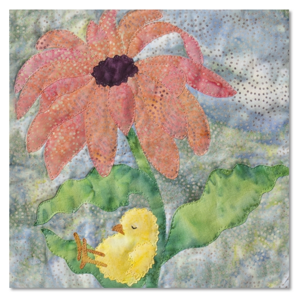 Quilt block of a chick sleeping under a pink daisy