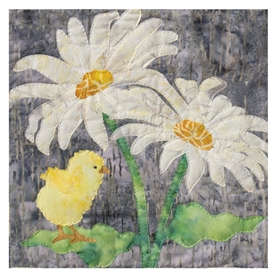 Quilt block of a chick with two large daisies
