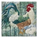Quilt block of a rooster protecting a clutch of eggs