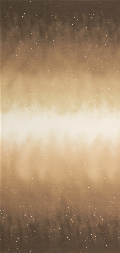 Ombre fabric that fades from ochre to white and back, with small white stars.