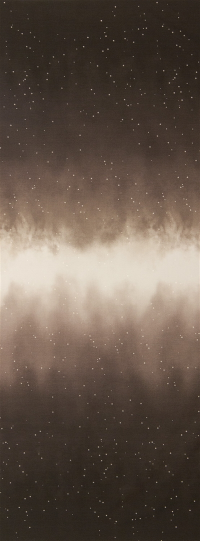 Ombre fabric that fades from dark taupe to white and back, with small white stars.