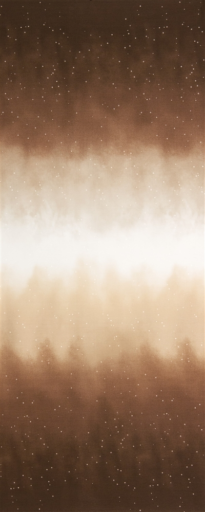 Ombre fabric that fades from dark reddish brown to white and back, with small white stars.