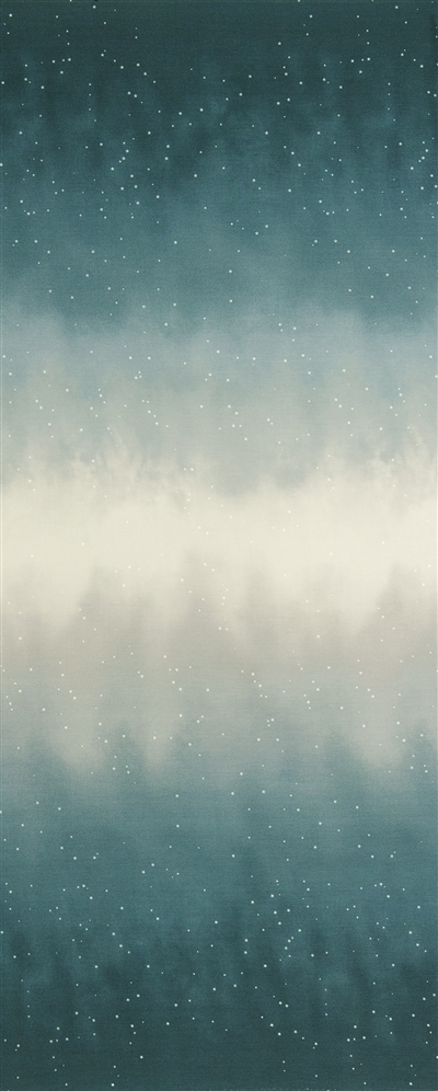 Ombre fabric that fades from dark blue gray to white and back, with small white stars.