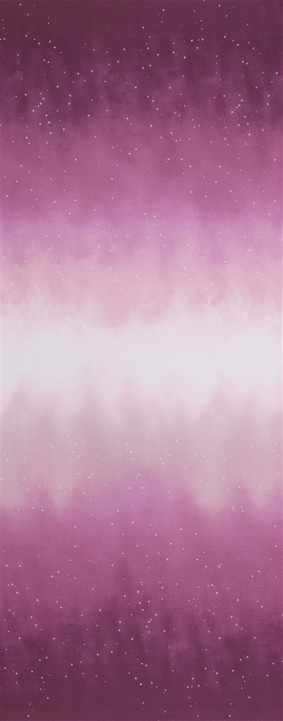 Ombre fabric that fades from magenta to white and back, with small white stars.