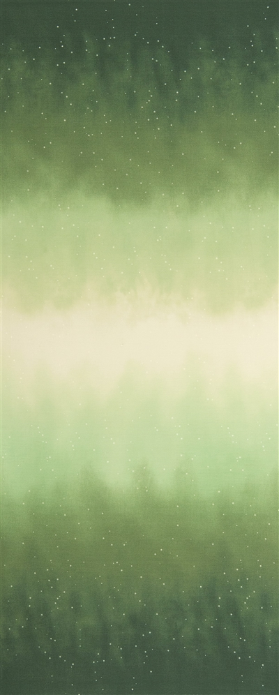 Ombre fabric that fades from bright green to white and back, with small white stars.