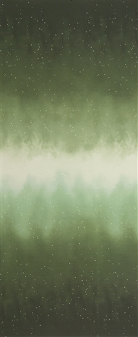 Ombre fabric that fades from deep earthy green to white and back, with small white stars.