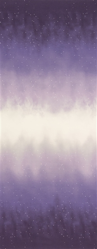 Ombre fabric that fades from deep violet to white and back, with small white stars.