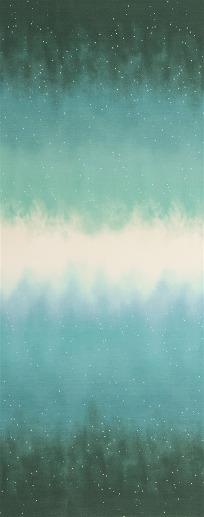 Ombre fabric that fades from sea green to ocean blue to white and back, with small white stars.