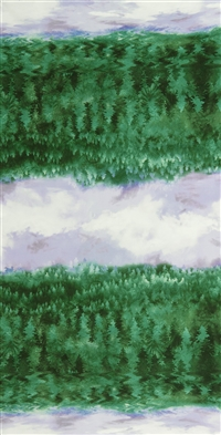Screen printed fabric that fades from forest to sky and back, in bold green and purple.
