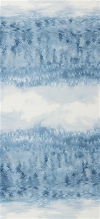 Screen printed fabric that fades from forest to sky and back, in icy blue and gray.