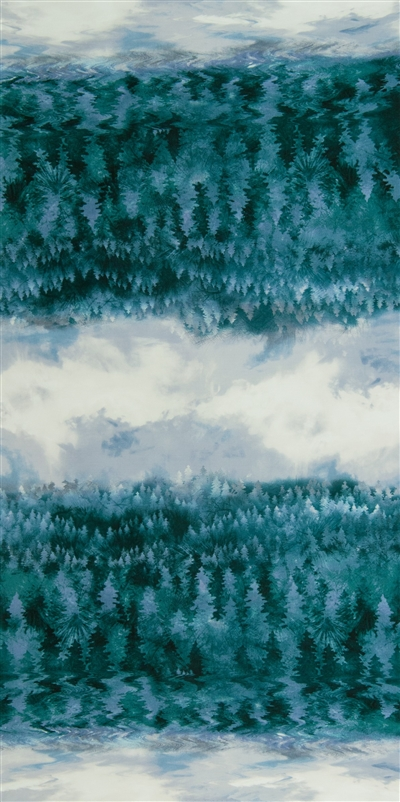 Screen printed fabric that fades from forest to sky and back, with green and blue trees and gray sky.