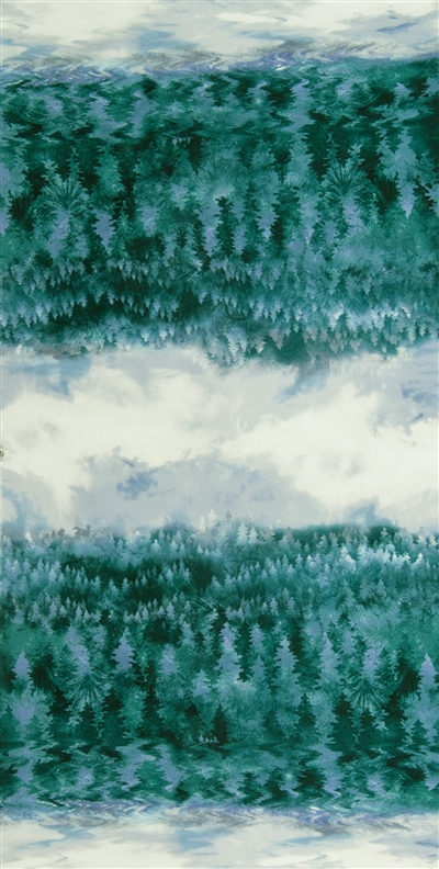 Screen printed fabric that fades from forest to sky and back, with all green trees and gray and blue sky.