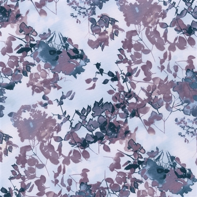 Cyanotype leaves and flowers in plum and navy.