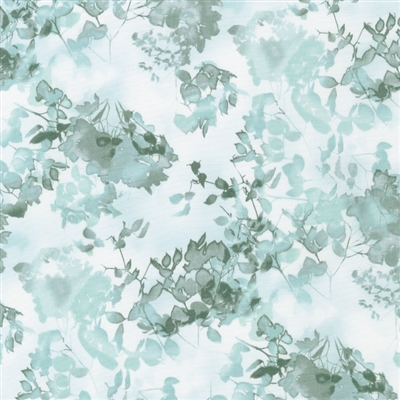Cyanotype leaves and flowers in light aqua and olive green.