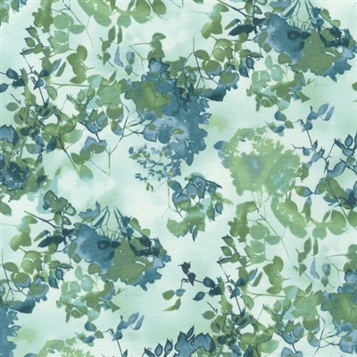 Cyanotype leaves and flowers in grass green and robin's egg blue.