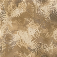 Swirling fern leaves in raffia, beige, and taupe.