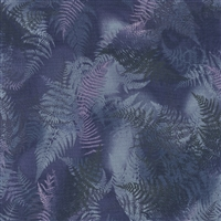Swirling fern leaves in deep blue, gray, and purple.
