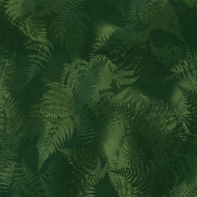 Swirling fern leaves in olive green.