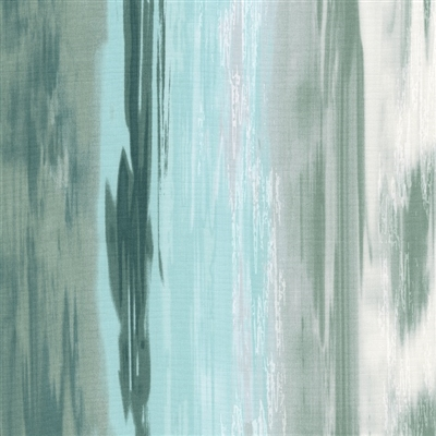 Flowing water screen print in sky blue, moss green, and white.