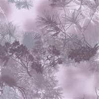 Pine needle screen print in medium to light purple and gray.