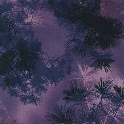 Pine needle screen print in medium to deep purple and navy.