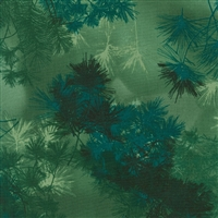 Pine needle screen print in medium to deep green and navy.